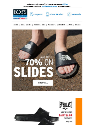 Bob's Stores - Up to 70% OFF Slides