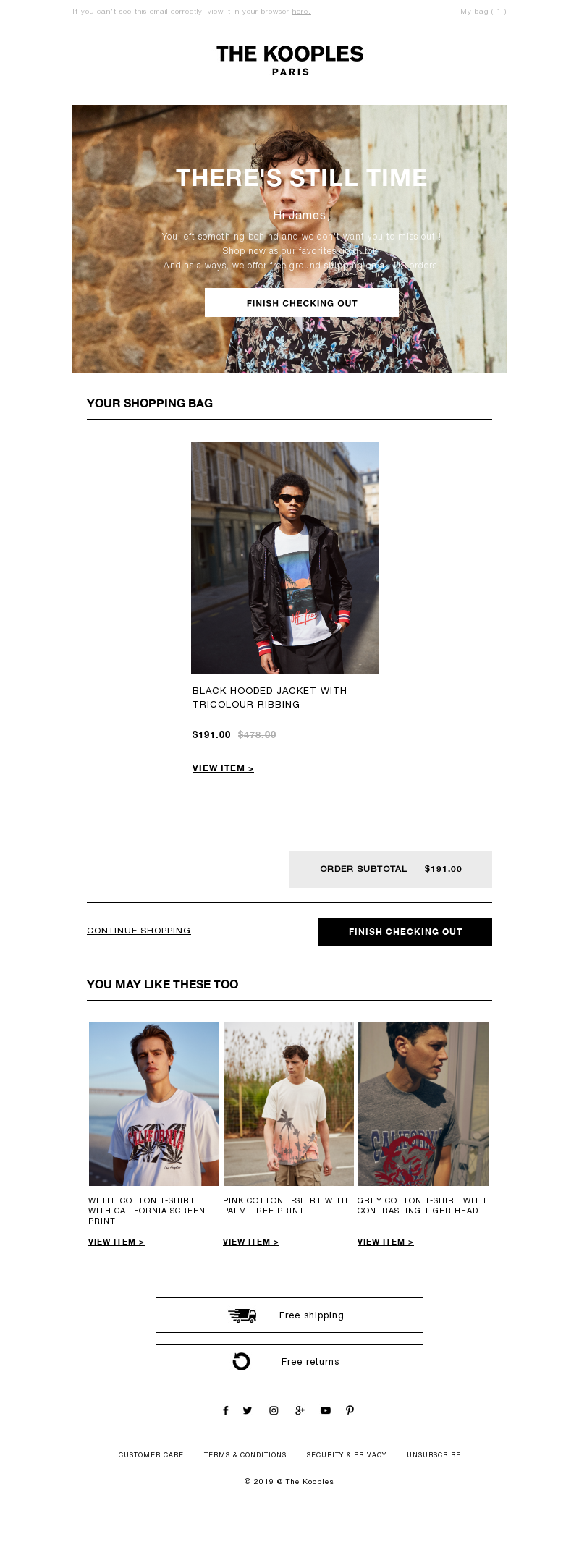 Luxury email example from Kooples