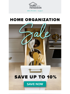 Build - Junk drawer no more. Our Home Organization Sale is on!