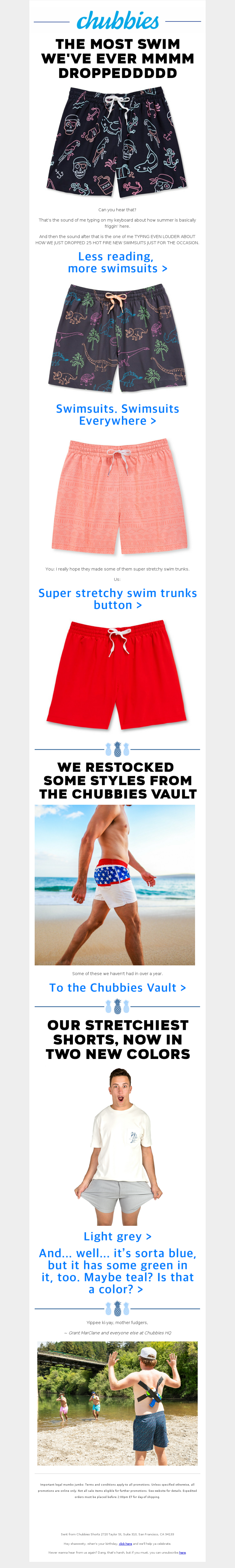 Chubbies - I sincerely regret not opening this email.