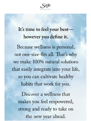 Saje Natural Wellness - Here's to feeling your best in 2021
