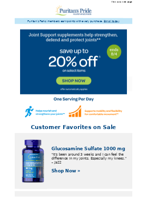 Protect your Joints -- save up to 20%
