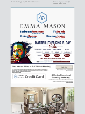 Bedroom Furniture Discounts - Martin Luther King Jr. Day Sale 2021 Ends Tomorrow! 🗽