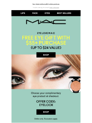MAC Cosmetics - Don't miss it! FREE eye product at checkout.