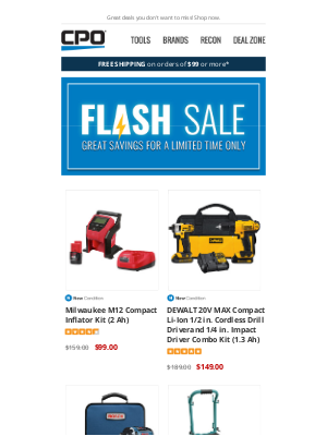 CPO Outlets - Sizzlin' Savings Gone in a Flash! Hot Deals on Milwaukee, DEWALT, Makita, and Bosch