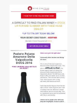 Wine Chateau - Re:  Appreciation Week - can't miss deals