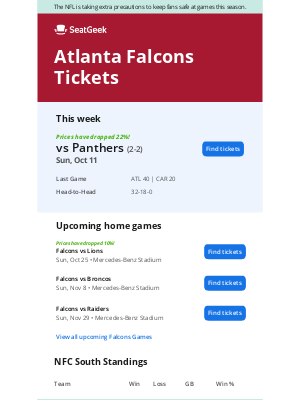 SeatGeek - Falcons vs. Panthers