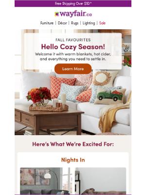 Wayfair (CA) - TV stands, throw blankets, mugs & more >>