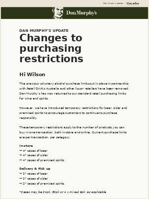 Hi Wilson - Changes to purchasing restrictions