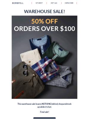 Bombfell - 50% Off Warehouse Sale!
