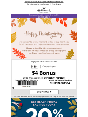 Hallmark - $4 inside for this season of thankfulness