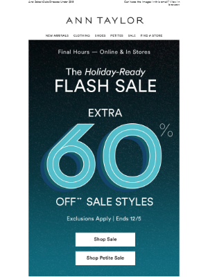 Last Call: Extra 60% Off Sale Ends Tonight