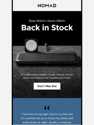 Nomad Goods - Base Station Apple Watch is Back in Stock