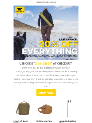 Mountainsmith - 20% off everything today only!