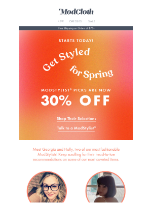 Styled for you, and 30% off!