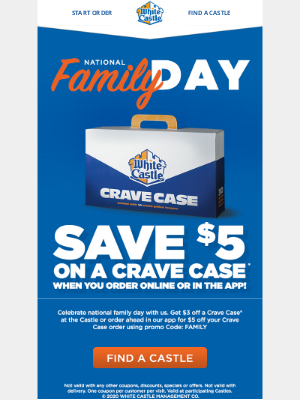 White Castle - Save on Feeding the Crew w/ a Crave Case