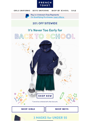 Frenchtoast School Uniforms - Beat the Back-to-School Rush: Save 20% Sitewide Now
