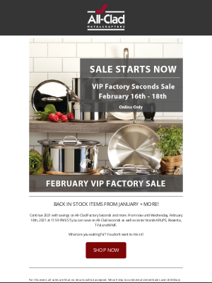 All-Clad Metalcrafters - Factory Seconds Sale Starts Now!