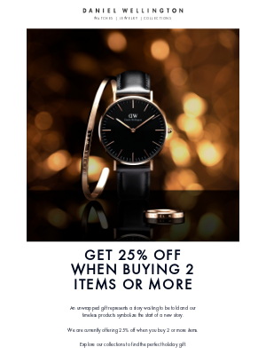 Daniel Wellington - 25% off when you buy 2 or more items