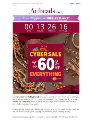 Artbeads - LAST DAY! Up to 60% Off Fall Cyber Sale Ends Soon