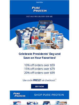 Pure Protein - Save 20% This Presidents' Day