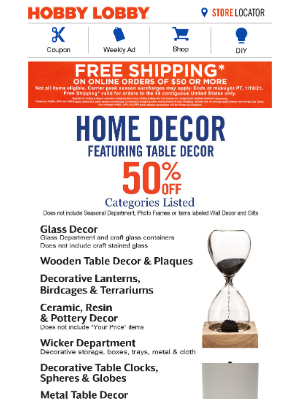 Hobby Lobby - Free Shipping - Ends 1/19