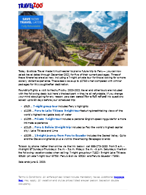 Just Added: Peru Vacations w/Air, $949 & up