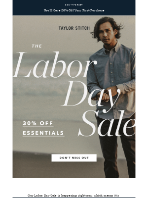 Taylor Stitch - Labor Day Sale—Stack Discounts to Save Big!