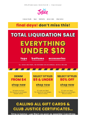 Justice - Total liquidation sale: Everything under $10 + Accessories from $1