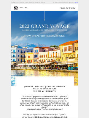 Crystal Cruises - Now Open! 2022 Grand Voyage