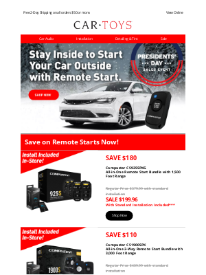 Car Toys - Final Weekend - Save on Remote Start Systems!