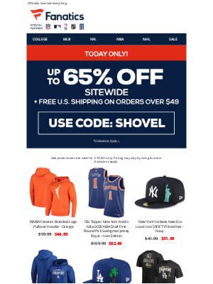 NHL - FINAL HOURS! Up To 65% Off + Free Shipping Ends TONIGHT