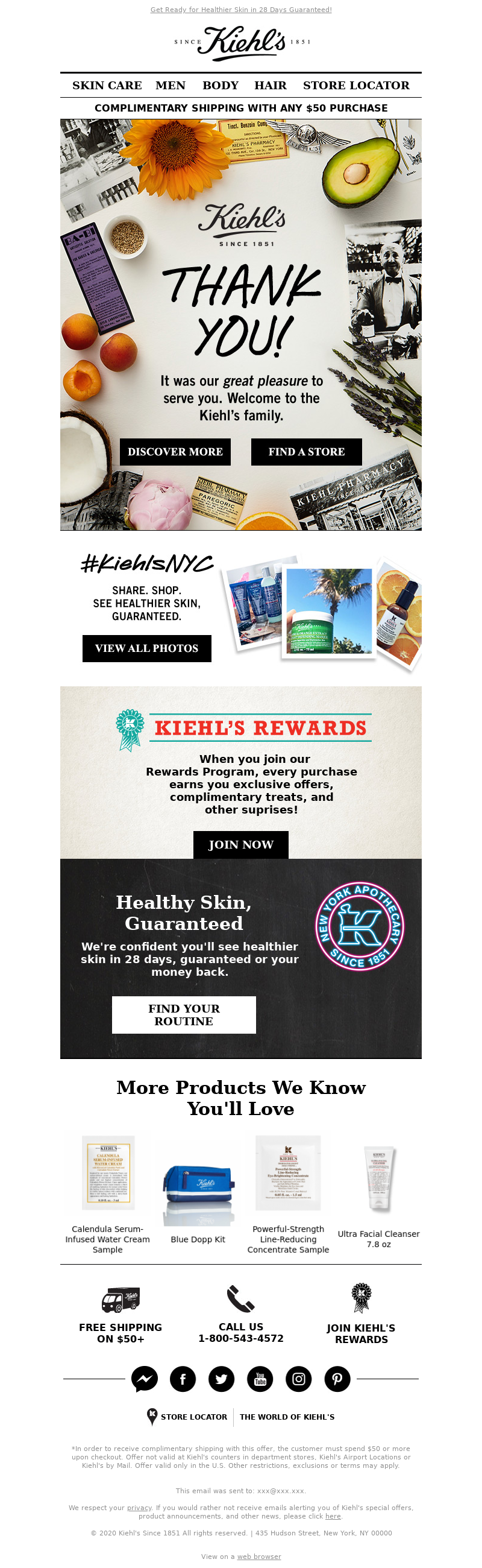 Kiehl's USA - Mailcharts, Thanks for Shopping With Us!
