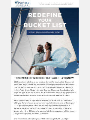 Windstar Cruises - Redefine Your Bucket List: 180 Beyond Ordinary Ideas