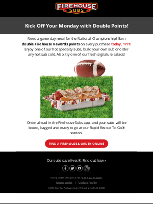 Firehouse Subs - 🏈Kick off your Monday with DOUBLE POINTS🏈