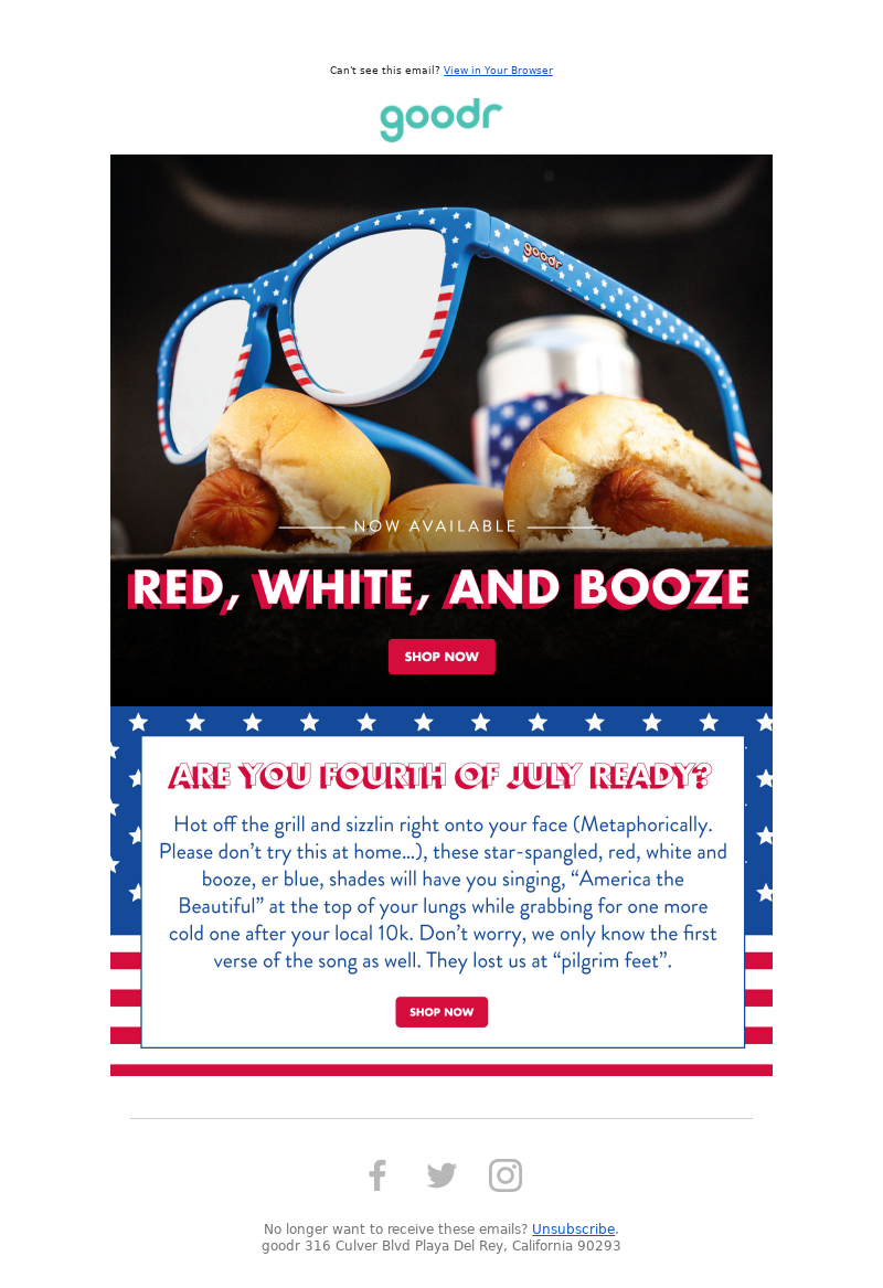 RUN goodr - All-New 4th of July Shades Now Available: Red, White, and Booze!