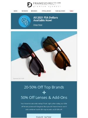 FramesDirect - LAST CHANCE for 50% OFF LENSES