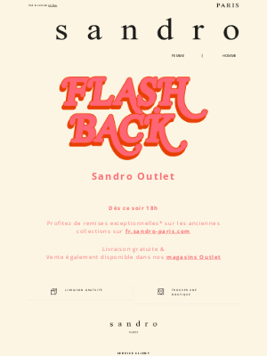 Sandro (France) - Vente Outlet l Flash-back dès ce soir 18h