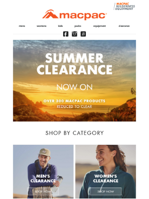 Macpac (New Zealand) - Make the most of our Summer Clearance
