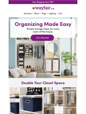 Wayfair (CA) - Storage bins, closet systems & more
