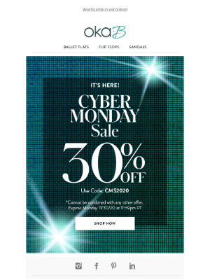 Oka-B - Cyber Monday Deal! 30% off Sitewide