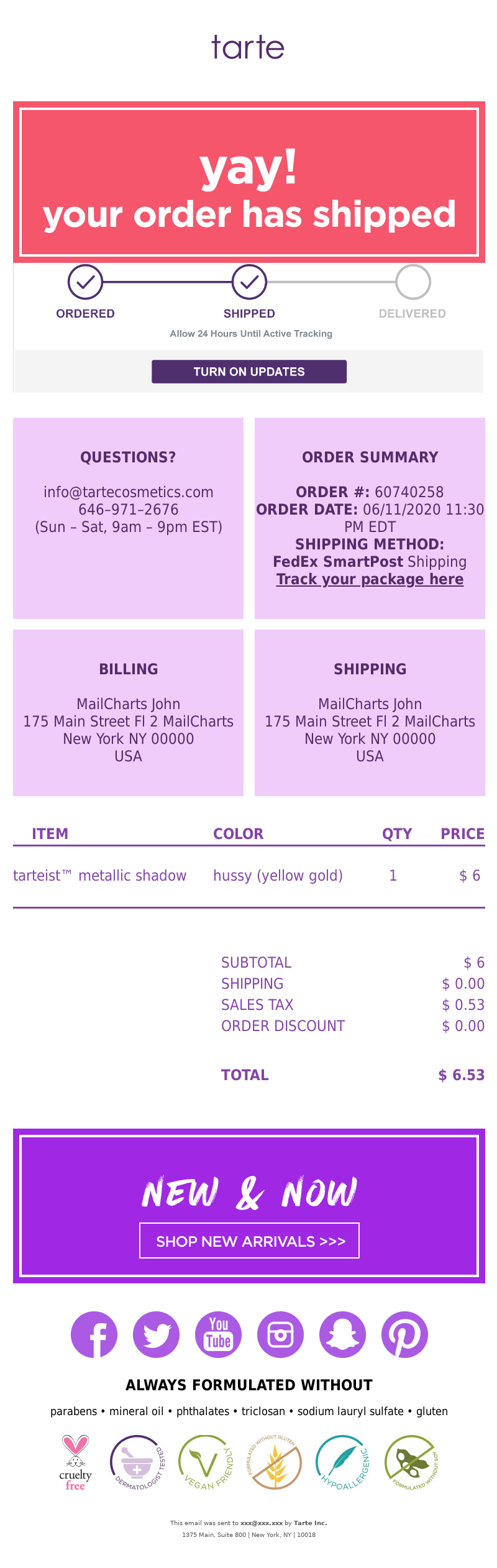 Shipping confirmation email template from tarte