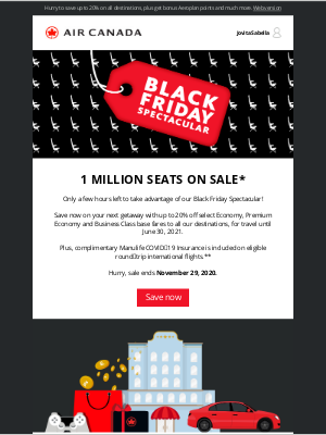 Air Canada - Last chance! Our Black Friday Spectacular ends tonight