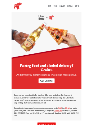 Drizly - Drizly, Uber Eats and $5 off: chef's kiss.