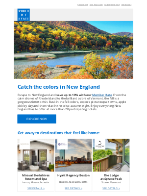 Hyatt Hotels - Fall in Love with New England and Save