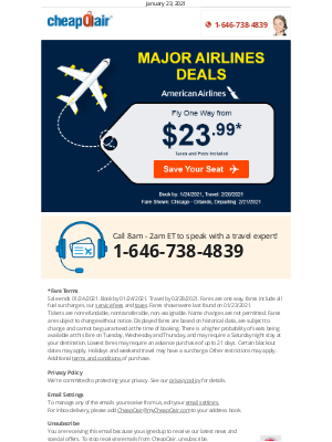 CheapOair - Major Airlines Deals: Fly from $23.99