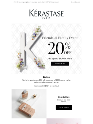 Kérastase - Don't Miss Out! 20% Off (Almost) Everything