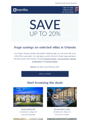 SALE: save up to 20% on selected villas in Orlando!