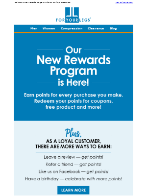 For Your Legs - Earn rewards on every purchase!