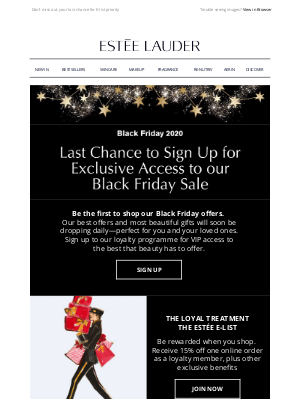 Estee Lauder (UK) - Black Friday 2020 Exclusive Access - Last Chance to Sign Up